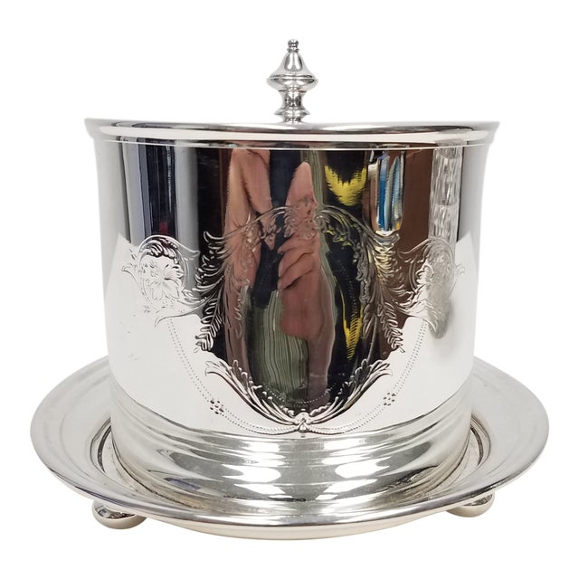 Antique English Silverplate Biscuit Container - Elkington For Sale