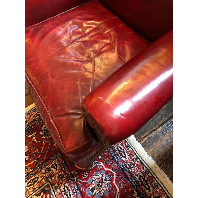 Wood 1950s Vintage Maroon Leather Wingback Chair For Sale - Image 7 of 13