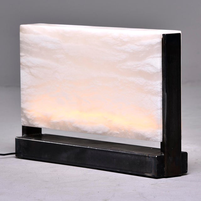 2010s Hand Carved Italian Alabaster Rectangular Led Table Lamp For Sale - Image 5 of 13