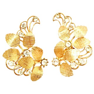 20th Century Gold & Austrian Crystal Abstract Floral Earrings - a Pair For Sale