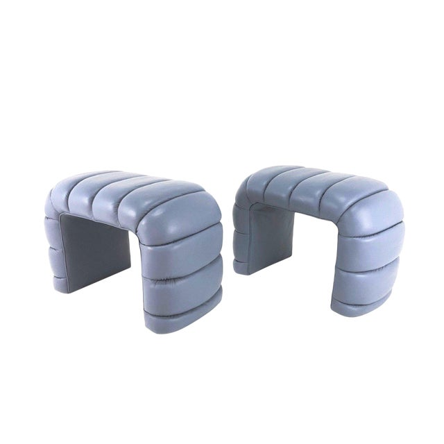 Channelled Leather Waterfall Benches - a Pair For Sale
