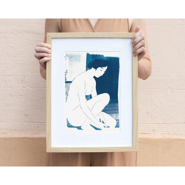Ukiyo-e Geisha Bathing, Handmade, Cyanotype on Watercolor, Limited Serie A4 For Sale - Image 4 of 7