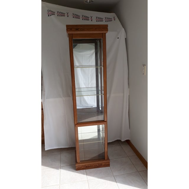 Rectangular Wood & Glass Curio Cabinet For Sale - Image 9 of 9