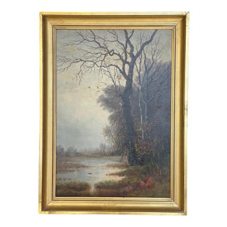 "Mid 19th Century ""Bord de Rivière"" French School Landscape Oil Painting, Framed For Sale"
