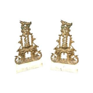Ornate 19th C Brass and Marble Candlesticks