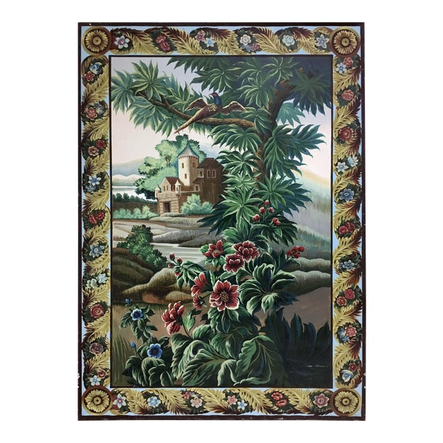 Hand Painted French Taperstry Scenery on Canvas Panel For Sale