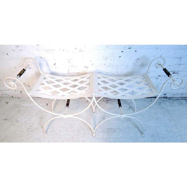 Industrial Vintage Metal Garden Bench For Sale - Image 3 of 4