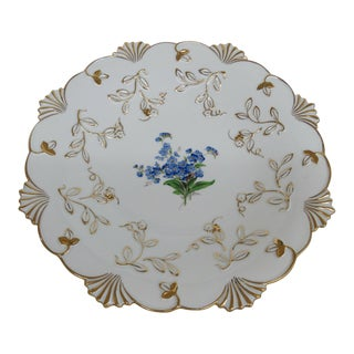 Early 20th Century Meissen K226 Hand Painted Blue Flowers Gold Trim German Porcelain Plate For Sale