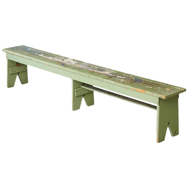 Primitive Green Pine Bench with Lots of Color Splashes from an Artist's Atelier For Sale