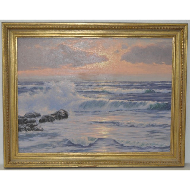 """Coastal Sunset"" Original Oil Painting by R. Lorenz - Image 2 of 8"