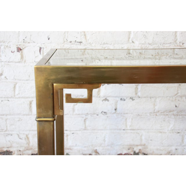 Mastercraft Hollywood Regency Brass and Glass Console Table with Greek Key Motif - Image 7 of 8