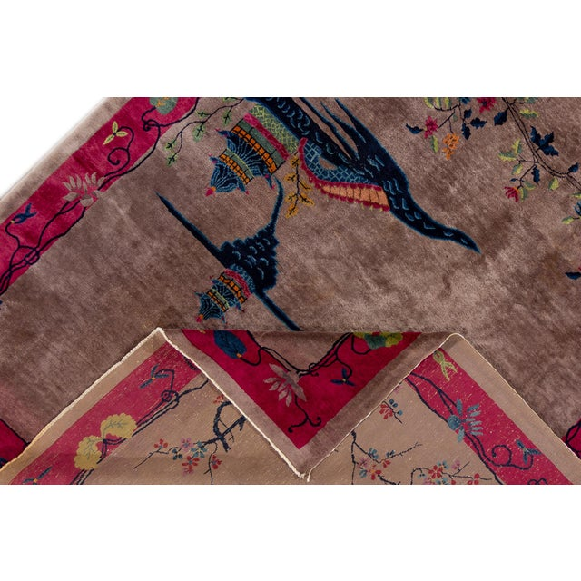Beautiful antique Chinese Art Deco rug, hand-knotted wool with a purple field, red frame in a subtle all-over Classic...