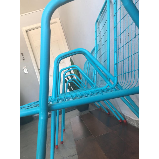 This is a set of 4 renovated and repainted stackable Emu patio metal chairs. The set includes two large and two smaller...