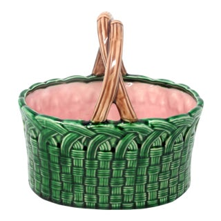 Vintage 1983 Green Ceramic Basket With Bamboo Handle
