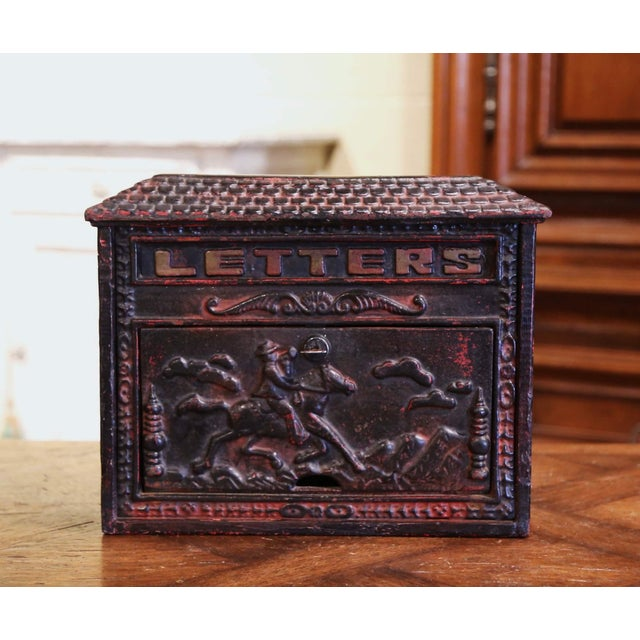19th Century English Black Painted Cast Iron Wall Mailbox With Relief Decor For Sale - Image 10 of 10