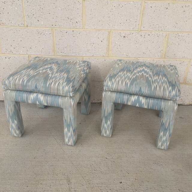 Vintage Parsons Stools Upholstered in Designer Flame Stitch Fabric - a Pair - Image 6 of 8