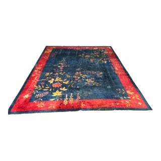 """1930s Antique Chinese Art Deco Rug-9'x12"""" For Sale"""