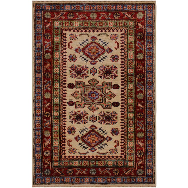 Persian Geraldo Ivory/Red Hand-Knotted Wool Rug - 2'0 X 2'11 For Sale