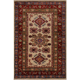 Tribal Rustic Geraldo Ivory/Red Hand-Knotted Wool Rug - 2'0 X 2'11 For Sale