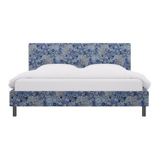 King Tailored Platform Bed In Porcelain Siberian Tiger By Old World Weavers For Sale