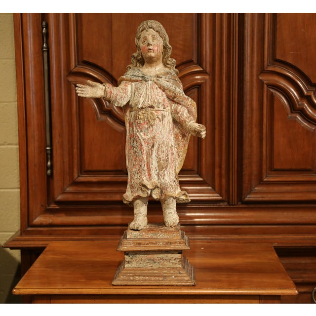 Mid 18th Century 17th Century French Hand-Carved Polychromed Painted Statue of Saint on Stand For Sale - Image 5 of 11