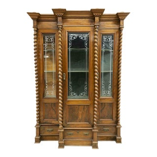 19th Century Antique French Louis Philippe Twist Column Bookcase / Cabinet For Sale