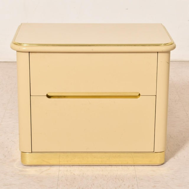 Altavista Lane 1980s Lane Brass and Cream Nightstands-a Pair For Sale - Image 4 of 8