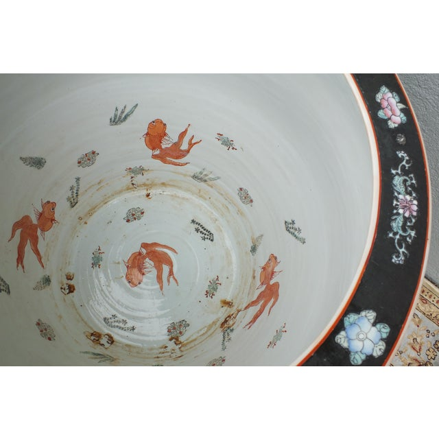 Early 20th Century Qianlong Chinese Famille Noir Fish Bowl Planter For Sale - Image 5 of 11