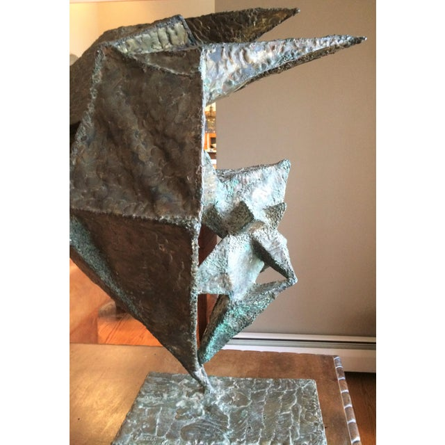 Geometric Copper and Steel Sculpture For Sale - Image 4 of 8