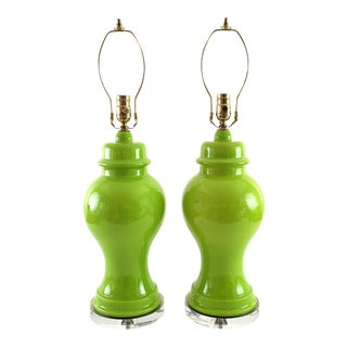 Restored Mid-Century Green Ginger Jar Pottery & Lucite Lamps - a Pair For Sale