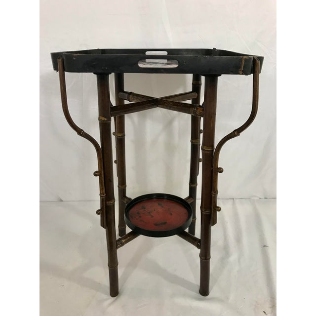 French Napoleon III Faux Bamboo and Laquer Side Table For Sale - Image 3 of 7