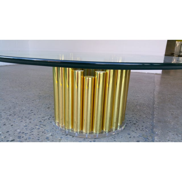 1980's Karl Springer Style Brass Lucite & Glass Cocktail Table - Image 5 of 10