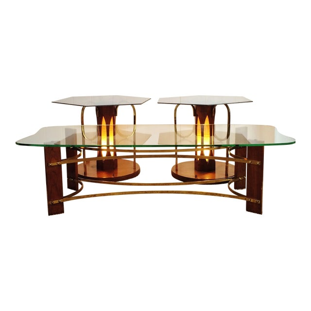 Mid-Century Wood and Glass Coffee & Lighted Side Table 3 Pc Set For Sale