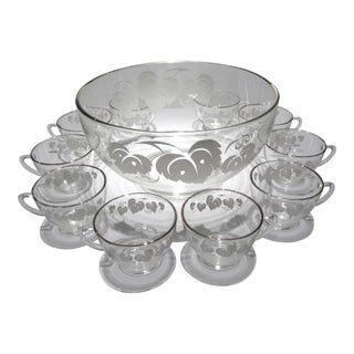 Mid-Century Punch Bowl Set - 11 Pieces For Sale