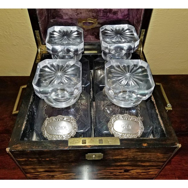 Late 19th Century 19c Irish Coromandel Wood Campaign Decanter Box With Irish Crystal Decanters For Sale - Image 5 of 12