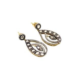 Rose Cut Diamond Dangling Sterling Silver Earrings For Sale