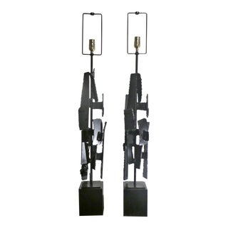 Laurel Harry Balmer / Richard Barr Mid-Century Statuesque Brutalist Torch Welded Table Lamps - a Pair For Sale