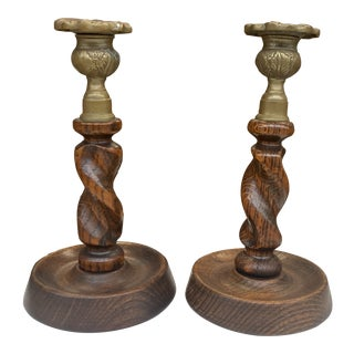 Antique English Oak and Brass Twisted Candleholders- a Pair For Sale