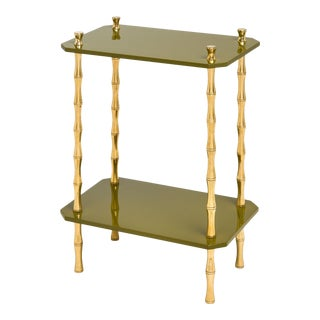 KRB New York Collection Freddie Table Brass in Olive Green / Brass For Sale