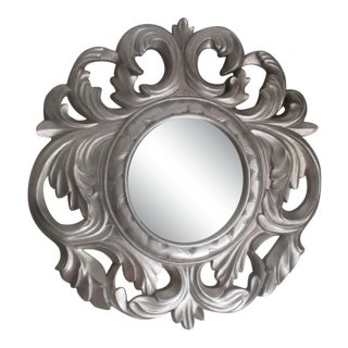 Late 20th Century Stylized Silver Leaf Mirror With Beveled Glass For Sale