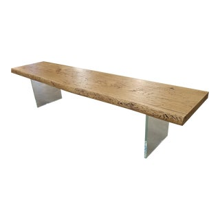 Solid Oak Bench with Glass Legs For Sale