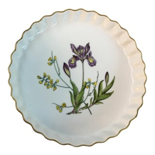 1980s Vintage Spode Stafford Porcelain Iris Tart Pan Plate For Sale