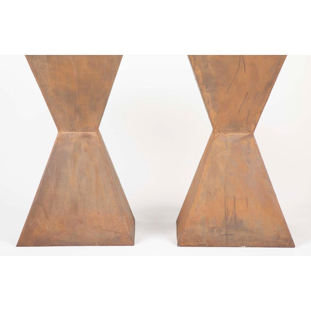 Brancusi Style Steel Side Tables - A Pair For Sale - Image 9 of 13