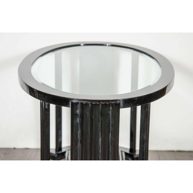 1930s Art Deco Bauhaus Style Cocktail or Occasional Table in Black Lacquer and Glass For Sale - Image 5 of 8
