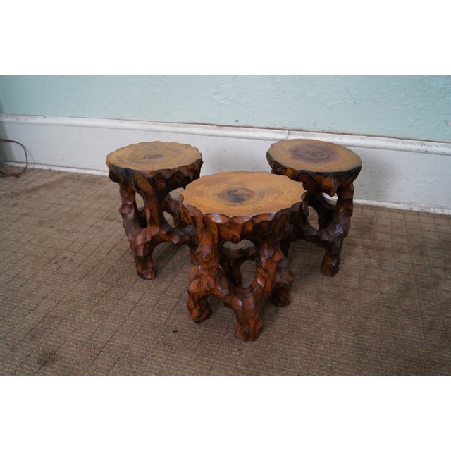 Mid Century Small Tree Stump Carved End Tables - Image 9 of 10