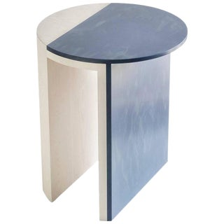 Gibbous Blue and White Side Table by Robert Sukrachand, Made in Usa For Sale