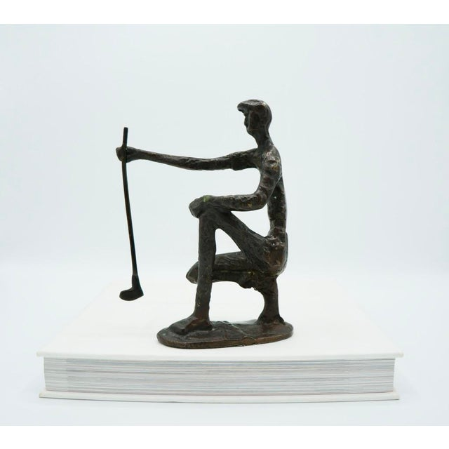 Metal Vintage Bronze Golfer on the Green Sculpture For Sale - Image 7 of 9
