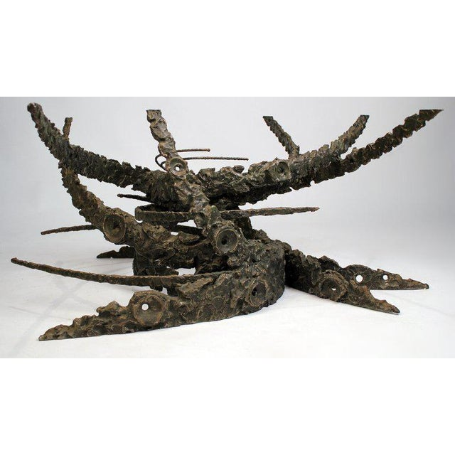Brutalist Cast and Welded Sculptural Bronze Round 'Swirl' Coffee Table by Daniel Gluck For Sale - Image 3 of 12