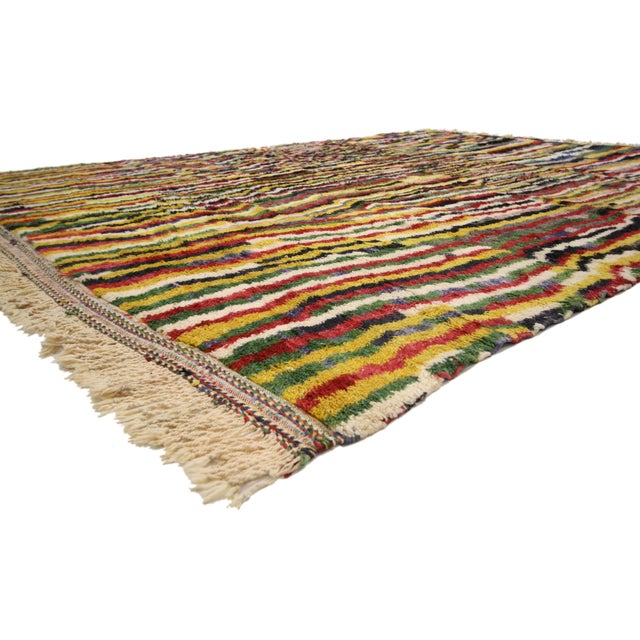 Stark hues of the colors woven into this piece work together with the Modern Bauhaus style to create a truly unique look....