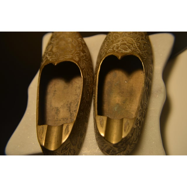 Boho Chic Indian Brass Slippers - A Pair For Sale - Image 3 of 5